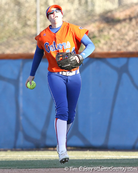 Florida freshman Brittany Schutte returns the ball to the infield during the Gators' 6-1 win against the Jacksonville Dolphins on Wednesday, February 17, 2010 at Katie Seashole Pressly Softball Stadium in Gainesville, Fla. / Gator Country photo by Tim Casey