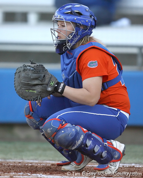 Florida junior catcher Tiffany DeFelice signals for a pitch during the Gators' 6-1 win against the Jacksonville Dolphins on Wednesday, February 17, 2010 at Katie Seashole Pressly Softball Stadium in Gainesville, Fla. / Gator Country photo by Tim Casey