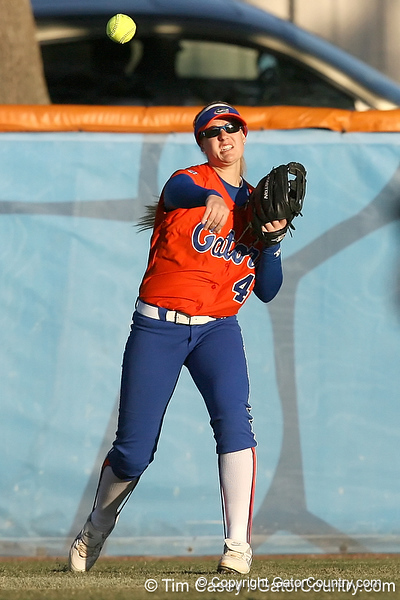 Florida freshman Brittany Schutte throws to the infield during the Gators' 6-1 win against the Jacksonville Dolphins on Wednesday, February 17, 2010 at Katie Seashole Pressly Softball Stadium in Gainesville, Fla. / Gator Country photo by Tim Casey