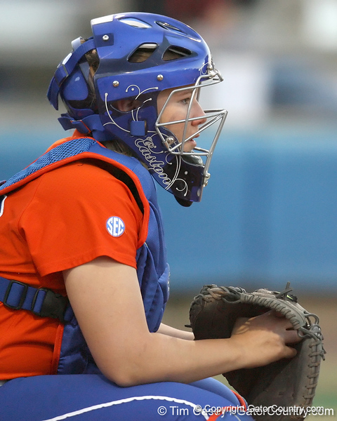 Florida junior catcher Tiffany DeFelice gets ready during the Gators' 6-1 win against the Jacksonville Dolphins on Wednesday, February 17, 2010 at Katie Seashole Pressly Softball Stadium in Gainesville, Fla. / Gator Country photo by Tim Casey