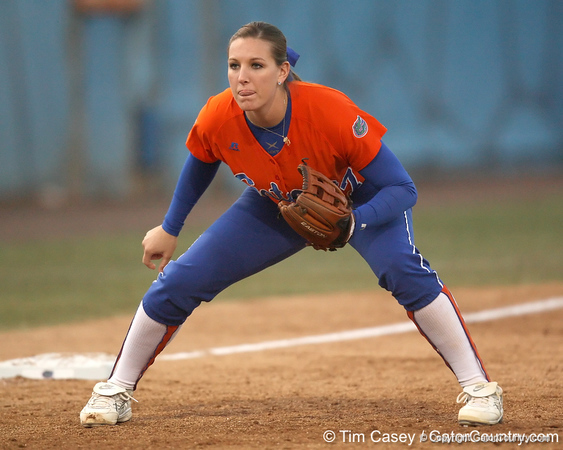 Florida senior third baseman Corrie Brooks gets ready during the Gators' 6-1 win against the Jacksonville Dolphins on Wednesday, February 17, 2010 at Katie Seashole Pressly Softball Stadium in Gainesville, Fla. / Gator Country photo by Tim Casey