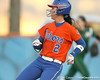 Florida junior Kelsey Bruder stands at second after hittig a double during the Gators' 6-1 win against the Jacksonville Dolphins on Wednesday, February 17, 2010 at Katie Seashole Pressly Softball Stadium in Gainesville, Fla. / Gator Country photo by Tim Casey