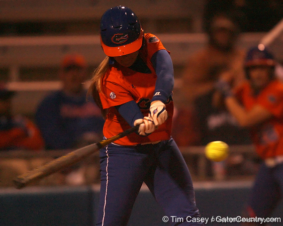 Florida junior Megan Bush bats during the Gators' 6-1 win against the Jacksonville Dolphins on Wednesday, February 17, 2010 at Katie Seashole Pressly Softball Stadium in Gainesville, Fla. / Gator Country photo by Tim Casey