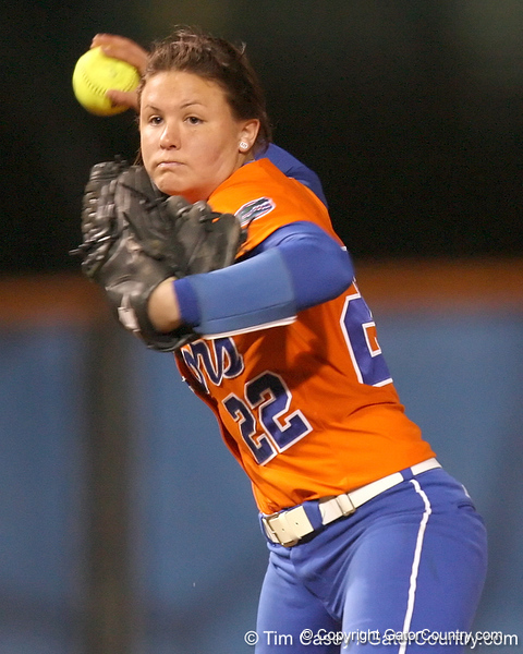 Florida freshman Brittany Walker throws out a runner at first base during the Gators' 6-1 win against the Jacksonville Dolphins on Wednesday, February 17, 2010 at Katie Seashole Pressly Softball Stadium in Gainesville, Fla. / Gator Country photo by Tim Casey