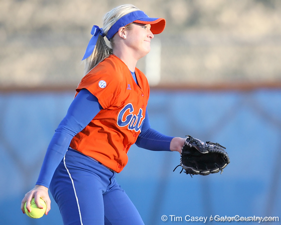 Florida junior pitcher Stephanie Brombacher winds up during the Gators' 6-1 win against the Jacksonville Dolphins on Wednesday, February 17, 2010 at Katie Seashole Pressly Softball Stadium in Gainesville, Fla. / Gator Country photo by Tim Casey
