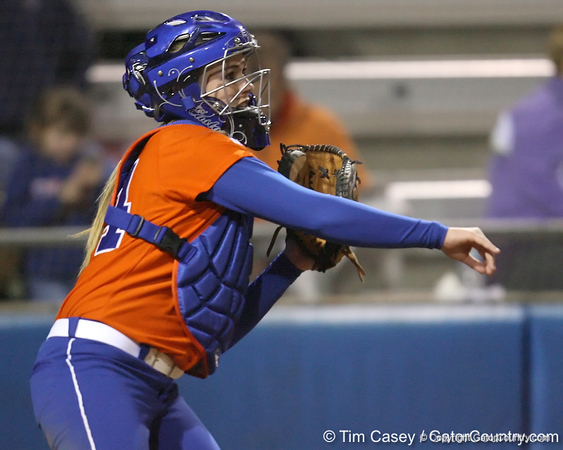 Florida freshman Brittany Schutte returns the ball to the pitcher during the Gators' 6-1 win against the Jacksonville Dolphins on Wednesday, February 17, 2010 at Katie Seashole Pressly Softball Stadium in Gainesville, Fla. / Gator Country photo by Tim Casey
