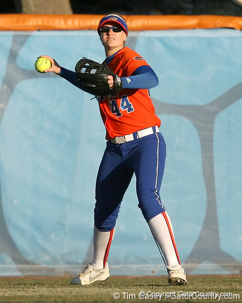 Florida freshman Brittany Schutte throws the ball to the infield during the Gators' 6-1 win against the Jacksonville Dolphins on Wednesday, February 17, 2010 at Katie Seashole Pressly Softball Stadium in Gainesville, Fla. / Gator Country photo by Tim Casey