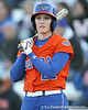 Florida senior third baseman Corrie Brooks checks a signal during the Gators' 6-1 win against the Jacksonville Dolphins on Wednesday, February 17, 2010 at Katie Seashole Pressly Softball Stadium in Gainesville, Fla. / Gator Country photo by Tim Casey