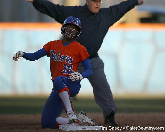 Florida sophomore Michelle Moultrie steals second base during the Gators' 6-1 win against the Jacksonville Dolphins on Wednesday, February 17, 2010 at Katie Seashole Pressly Softball Stadium in Gainesville, Fla. / Gator Country photo by Tim Casey
