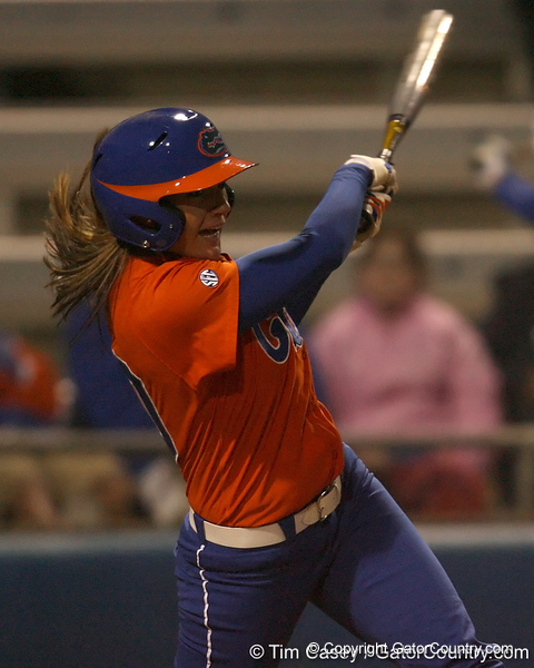 Florida senior left fielder Francesca Enea hits a single during the Gators' 6-1 win against the Jacksonville Dolphins on Wednesday, February 17, 2010 at Katie Seashole Pressly Softball Stadium in Gainesville, Fla. / Gator Country photo by Tim Casey
