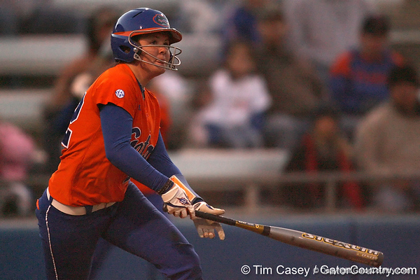 Florida freshman Brittany Walker bats during the Gators' 6-1 win against the Jacksonville Dolphins on Wednesday, February 17, 2010 at Katie Seashole Pressly Softball Stadium in Gainesville, Fla. / Gator Country photo by Tim Casey