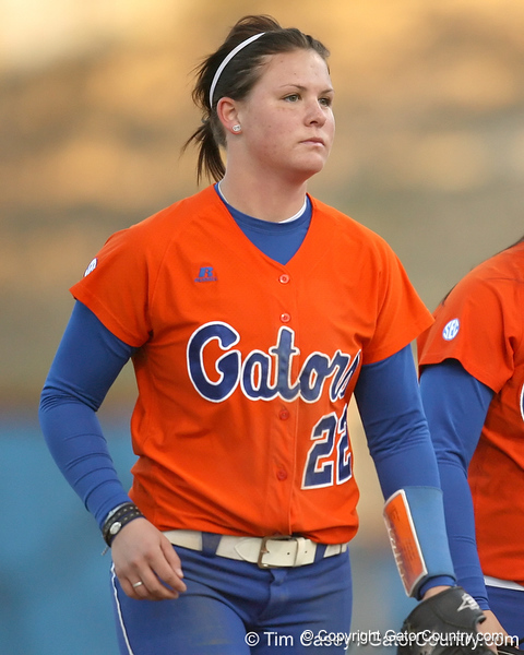Florida freshman Brittany Walker returns to the dugout during the Gators' 6-1 win against the Jacksonville Dolphins on Wednesday, February 17, 2010 at Katie Seashole Pressly Softball Stadium in Gainesville, Fla. / Gator Country photo by Tim Casey