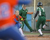 Florida junior Megan Bush catches a throw at first for a putout during the Gators' 6-1 win against the Jacksonville Dolphins on Wednesday, February 17, 2010 at Katie Seashole Pressly Softball Stadium in Gainesville, Fla. / Gator Country photo by Tim Casey