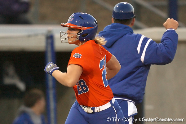 Florida junior catcher Tiffany DeFelice rounds third base after hitting a home run during the Gators' 6-1 win against the Jacksonville Dolphins on Wednesday, February 17, 2010 at Katie Seashole Pressly Softball Stadium in Gainesville, Fla. / Gator Country photo by Tim Casey