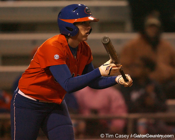 Florida senior third baseman Corrie Brooks squares to bunt during the Gators' 6-1 win against the Jacksonville Dolphins on Wednesday, February 17, 2010 at Katie Seashole Pressly Softball Stadium in Gainesville, Fla. / Gator Country photo by Tim Casey