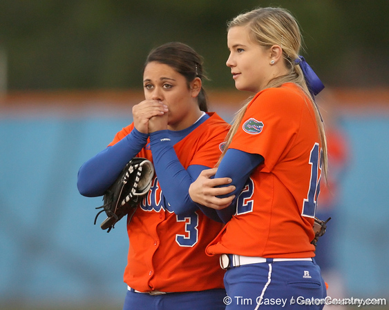 Florida junior second baseman Aja Paculba talks with junior  Megan Bush during the Gators' 6-1 win against the Jacksonville Dolphins on Wednesday, February 17, 2010 at Katie Seashole Pressly Softball Stadium in Gainesville, Fla. / Gator Country photo by Tim Casey