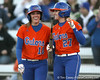 Florida senior left fielder Francesca Enea and senior third baseman Corrie Brooks react after a run-scoring double during the Gators' 6-1 win against the Jacksonville Dolphins on Wednesday, February 17, 2010 at Katie Seashole Pressly Softball Stadium in Gainesville, Fla. / Gator Country photo by Tim Casey