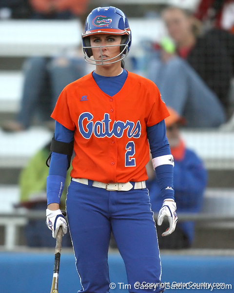 Florida junior Kelsey Bruder looks for a signal during the Gators' 6-1 win against the Jacksonville Dolphins on Wednesday, February 17, 2010 at Katie Seashole Pressly Softball Stadium in Gainesville, Fla. / Gator Country photo by Tim Casey
