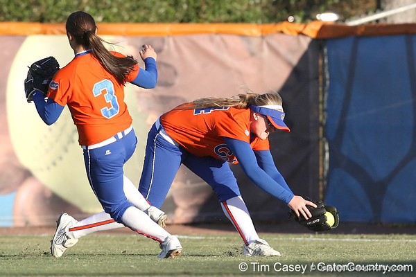 Florida freshman Brittany Schutte makes a shoestring catch in right field during the Gators' 6-1 win against the Jacksonville Dolphins on Wednesday, February 17, 2010 at Katie Seashole Pressly Softball Stadium in Gainesville, Fla. / Gator Country photo by Tim Casey