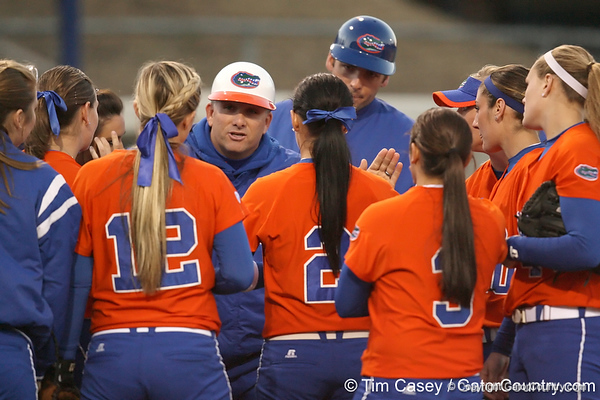 Florida head coach Tim Walton talks to his team during the Gators' 6-1 win against the Jacksonville Dolphins on Wednesday, February 17, 2010 at Katie Seashole Pressly Softball Stadium in Gainesville, Fla. / Gator Country photo by Tim Casey