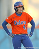 Florida freshman Brittany Schutte stands on second base after reaching on an infield hit and error during the Gators' 6-1 win against the Jacksonville Dolphins on Wednesday, February 17, 2010 at Katie Seashole Pressly Softball Stadium in Gainesville, Fla. / Gator Country photo by Tim Casey