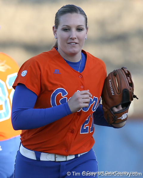 Florida senior third baseman Corrie Brooks gets in position during the Gators' 6-1 win against the Jacksonville Dolphins on Wednesday, February 17, 2010 at Katie Seashole Pressly Softball Stadium in Gainesville, Fla. / Gator Country photo by Tim Casey