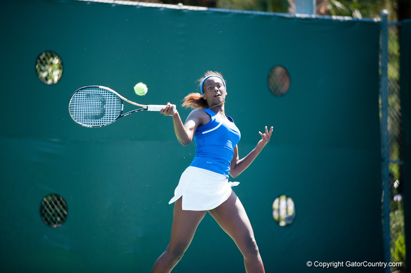 Florida junior Caroline Hitimana  during the Gators' 4-0 win against South Carolilna State on Friday May 11, 2012 at the Alfred A Ring Tennis Complex in Gainesville, Fla. / Gator Country photo by Saj Guevara