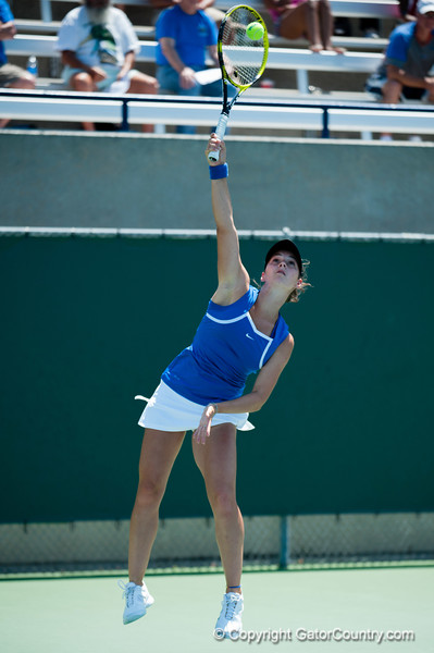 Florida sophomore Sofie Oyen  during the Gators' 4-0 win against South Carolilna State on Friday May 11, 2012 at the Alfred A Ring Tennis Complex in Gainesville, Fla. / Gator Country photo by Saj Guevara