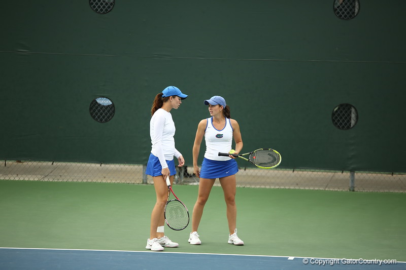 Danielle Collins and Sofie Oyen during Florida's 4-1 win over Alabama on March 22, 2013 in Gainesville, Florida