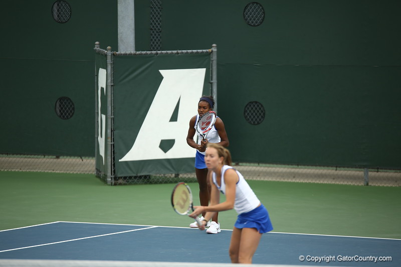 Lauren Embree and Brianna Morgan during Florida's 4-1 win over Alabama on March 22, 2013 in Gainesville, Florida