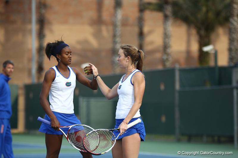 Brianna Morgan and Lauren Embree during Florida's 4-1 win over Alabama on March 22, 2013 in Gainesville, Florida