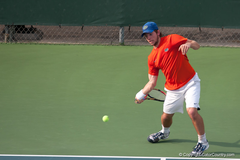 Florida junior Tripper Carleton hits a forehand during the Gators' 7-0 win against the Auburn Tigers on Friday, March 30, 2012 at the Alfred A Ring Tennis Complex in Gainesville, Fla. / Gator Country photo by Saj Guevara