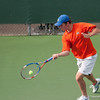 Florida junior Bob van Overbeek hits a forehand during the Gators' 7-0 win against the Auburn Tigers on Friday, March 30, 2012 at the Alfred A Ring Tennis Complex in Gainesville, Fla. / Gator Country photo by Saj Guevara