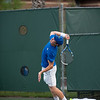 Florida sophomore Spencer Newman serves   during the Gators' 7-0 win against the Auburn Tigers on Friday, March 30, 2012 at the Alfred A Ring Tennis Complex in Gainesville, Fla. / Gator Country photo by Saj Guevara