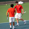 Florida junior Billy Federhofer with teammates Nassim Slilam after winning their doubles match during  the Gators' 7-0 win against the Auburn Tigers on Friday, March 30, 2012 at the Alfred A Ring Tennis Complex in Gainesville, Fla. / Gator Country photo by Saj Guevara