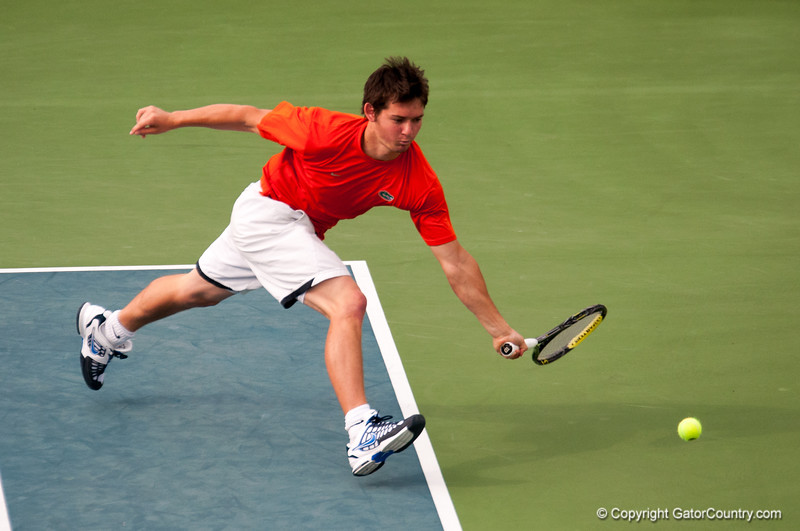Florida junior Billy Federhofer hits a forehand during the Gators' 7-0 win against the Auburn Tigers on Friday, March 30, 2012 at the Alfred A Ring Tennis Complex in Gainesville, Fla. / Gator Country photo by Saj Guevara