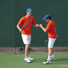 Florida junior Bob van Overbeek with teammate Spencer Newman during the Gators' 7-0 win against the Auburn Tigers on Friday, March 30, 2012 at the Alfred A Ring Tennis Complex in Gainesville, Fla. / Gator Country photo by Saj Guevara