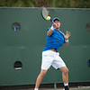 Florida sophomore Michael Alford hits a forehand during the Gators' 7-0 win against the Auburn Tigers on Friday, March 30, 2012 at the Alfred A Ring Tennis Complex in Gainesville, Fla. / Gator Country photo by Saj Guevara
