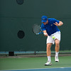Florida sophomore Spencer Newman hits a forehand    during the Gators' 7-0 win against the Auburn Tigers on Friday, March 30, 2012 at the Alfred A Ring Tennis Complex in Gainesville, Fla. / Gator Country photo by Saj Guevara