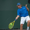 Florida sophomore Andrew Butz hits a forehand during the Gators' 7-0 win against the Auburn Tigers on Friday, March 30, 2012 at the Alfred A Ring Tennis Complex in Gainesville, Fla. / Gator Country photo by Saj Guevara
