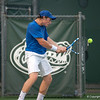 Florida sophomore Spencer Newman hits a backhand    during the Gators' 7-0 win against the Auburn Tigers on Friday, March 30, 2012 at the Alfred A Ring Tennis Complex in Gainesville, Fla. / Gator Country photo by Saj Guevara