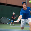 Florida sophomore Spencer Newman chases a drop ball  during the Gators' 7-0 win against the Auburn Tigers on Friday, March 30, 2012 at the Alfred A Ring Tennis Complex in Gainesville, Fla. / Gator Country photo by Saj Guevara