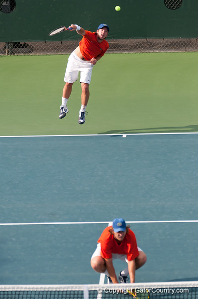 Florida sophomore Andrew Butz serves during the Gators' 7-0 win against the Auburn Tigers on Friday, March 30, 2012 at the Alfred A Ring Tennis Complex in Gainesville, Fla. / Gator Country photo by Saj Guevara