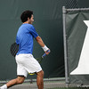 Florida senior Nassim Slilam hits a backhand during the Gators' 7-0 win against the Auburn Tigers on Friday, March 30, 2012 at the Alfred A Ring Tennis Complex in Gainesville, Fla. / Gator Country photo by Saj Guevara
