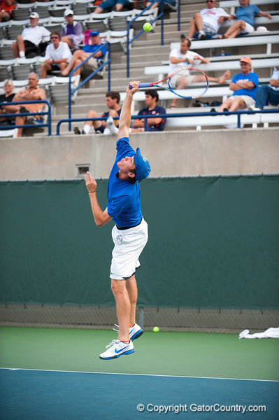 Florida junior Bob van Overbeek serves during the Gators' 7-0 win against the Auburn Tigers on Friday, March 30, 2012 at the Alfred A Ring Tennis Complex in Gainesville, Fla. / Gator Country photo by Saj Guevara