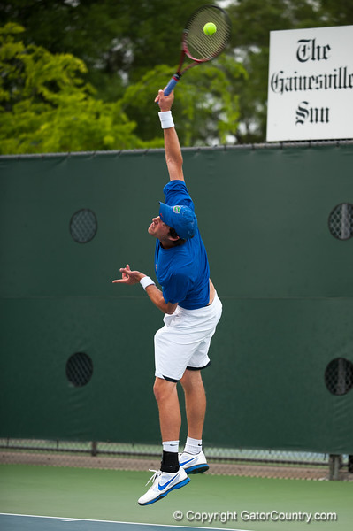 Florida sophomore Michael Alford serves during the Gators' 7-0 win against the Auburn Tigers on Friday, March 30, 2012 at the Alfred A Ring Tennis Complex in Gainesville, Fla. / Gator Country photo by Saj Guevara