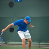 Florida junior Bob van Overbeek hits a backhand during the Gators' 7-0 win against the Auburn Tigers on Friday, March 30, 2012 at the Alfred A Ring Tennis Complex in Gainesville, Fla. / Gator Country photo by Saj Guevara