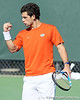 Florida senior Alexandre Lacroix celebrates after a doubles point during the No. 9-ranked Gators' 5-2 win against the No. 7-ranked Baylor Bears on Sunday, January 23, 2011 at Linder Stadium at Ring Tennis Complex in Gainesville, Fla. / Gator Country photo by Tim Casey
