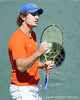 Florida freshman Andrew Butz celebrates a point during the No. 9-ranked Gators' 5-2 win against the No. 7-ranked Baylor Bears on Sunday, January 23, 2011 at Linder Stadium at Ring Tennis Complex in Gainesville, Fla. / Gator Country photo by Tim Casey