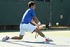 Florida senior Alexandre Lacroix stretches for a ball during the No. 9-ranked Gators' 5-2 win against the No. 7-ranked Baylor Bears on Sunday, January 23, 2011 at Linder Stadium at Ring Tennis Complex in Gainesville, Fla. / Gator Country photo by Tim Casey